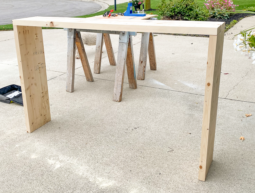 Frame for console table made out of 2x6's